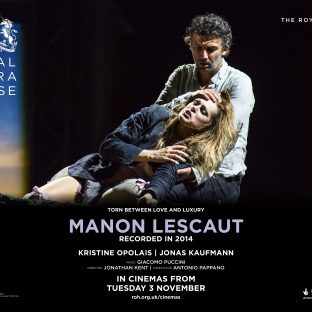 Poster for opera - man holding woman in his arms.