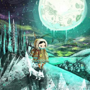 Under the frozen moon illustrated image: a small girl in a furry coat with a white fox walk through a snowy landscape